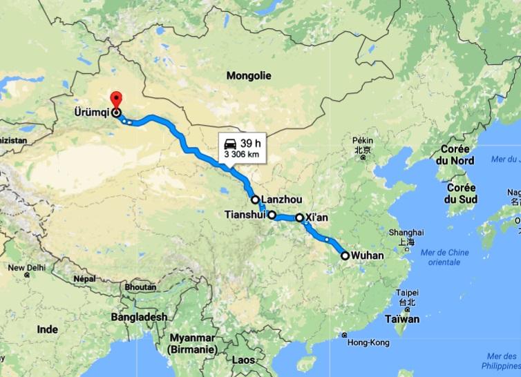 trajet en train wuhan - urumqi